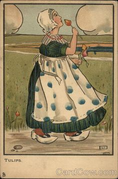 Tulips Little Hollander Series 1390 A girl in clogs smells a tulip