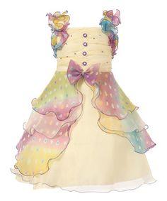 Look at this #zulilyfind! Yellow Tiered Pastel Ruffle Dress - Toddler & Girls by Richie House #zulilyfinds