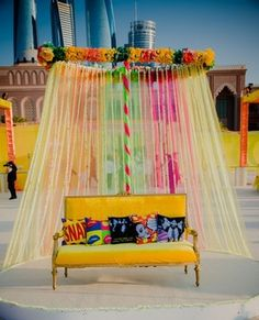 Such a beautiful seating setup for the bride - perfect for the Mehendi function!