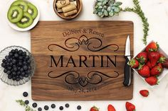 Personalized Cutting Board. Cutting Board, Custom Cutting board. This one of a kind cutting board is custom engraved on your choice of wood. Our