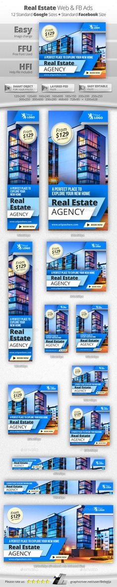 Real Estate Advertising, Real Estate Ads, Real Estate Marketing, Facebook Banner, Email Design, Ad Design, Graphic Design, Banner Template