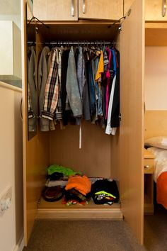 Mountain Halls Studio flat: bedrooms have a single and double wardrobe and plenty of storage above the bed, too. Double Wardrobe, Bedrooms, Mountain, Student, Storage, Furniture, Home Decor, Purse Storage, Decoration Home