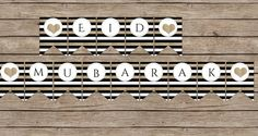 Eid Mubarak printable banner Black white by GirlintheCityDesigns, $5.00
