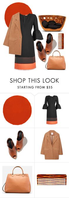 """Orange + Brown"" by cherieaustin on Polyvore featuring Christian Louboutin, Fendi, MANGO and Mason Pearson"