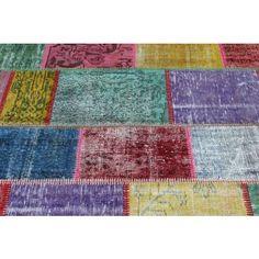 Recoloured multicolor patchwork tapijt / vloerkleed - Serozatapijten.nl