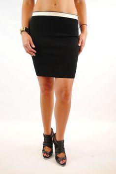 (amq) Contrast knit high waist black skirt