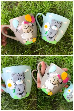 Metoyou bear teddy sheep nici cute girly ballon flower cartoon mug polymer clay handmade homemade