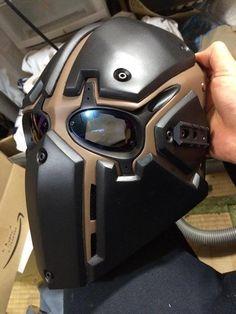 Optic mask for our healer/sniper? Airsoft Gear, Tactical Gear, Helmet Design, Mask Design, Helmet Armor, Cosplay Helmet, Tac Gear, Armor Concept, Cool Gear