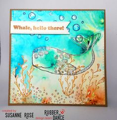 Susanne Rose Designs: Greeting Card Embossing Resist with Rubber Dance and Brushos, WOW! Embossing Powder