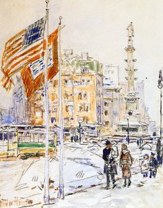"""""""Flags, Columbus Circle,"""" Frederick Childe Hassam, 1918, watercolor and charcoal on paper"""", 8.75 x 6.75"""", private collection."""