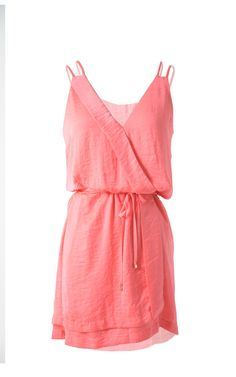 Silk summer coral dress