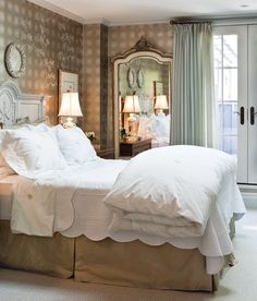 Refined Principal Bedroom - A detailed mirror enlarges this space. A complementary palette of soft creams and golds create a cosy ambience in designer Michelle Hanna's traditional principal bedroom. Bedroom Bed, Cozy Bedroom, Master Bedroom, Bedroom Decor, Bedroom Ideas, Taupe Bedroom, Peaceful Bedroom, Bedroom Stuff, Bedroom Designs