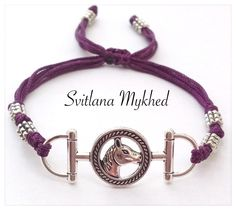 """Bracelet """"Cheval"""" cordon satin violet-prune. Fermeture coulissante. Bracelet de l'amitié à offrir ou s'offrir... : Bracelet par perles-et-couronnes"""