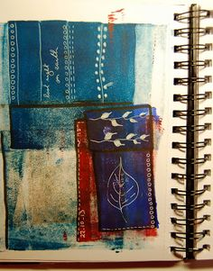 MHBD's Blog: Art Journals - Art Journals Instead of cleaning my brayer on a scrap piece of paper after applying it to the Gelli plate, I've started rolling it onto sketchbooks. The resulting colours make a perfect background for journal pages.  On this one, I simply added doodles and writing with a white pen and a few lines with a black marker. A great way to unwind at the end of the day or if you're in a conference call that goes on for too long!