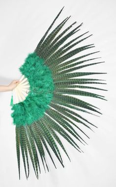 "forest green Marabou and Pheasant Feather Fan Burlesque Dance 29""x 53"" Gift Box #Handmade"