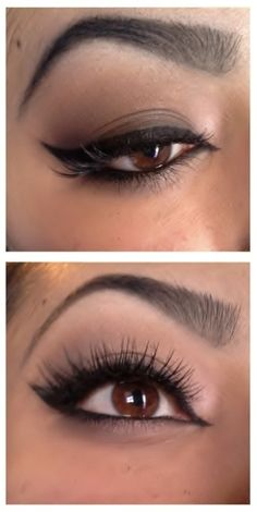 Brown Smokey eye with lashes