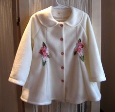 Ivory toddler girls swing coat with pink by SnowdropsDesigns, $70.00