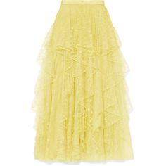 Rodarte Embroidered lace midi skirt (€2.995) ❤ liked on Polyvore featuring skirts, yellow, rodarte, pastel midi skirt, beige midi skirt, lace pleated skirt and lace skirts