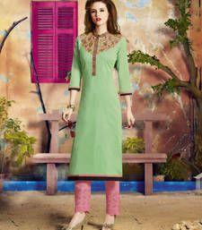 Buy Light Green embroidered Cotton kurtas-and-kurtis party-wear-kurti online