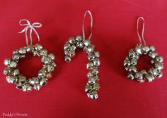 DIY Christmas Ornaments - Jingle Bell Wreaths and Candy Cane