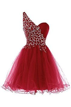 Sweety Bridal Lovely Prom Dress One Shoulder Short Homecoming Dress DarkRed US26 >>> Check out this great product-affiliate link. #SweatersForWomen