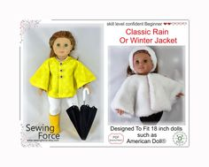 Classic Rain or Winter Jacket PDF sewing pattern for 18 inch Doll like American Girl Doll, fits Plea Easy Sewing Patterns, Coat Patterns, Doll Clothes Patterns, Pattern Sewing, Girl Doll Clothes, Girl Dolls, Barbie Clothes, Pleasant Company Dolls, Journey Girls