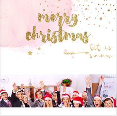 Enkele foto zakelijke kerstkaart met watercolor, confetti, pijltjes, foto collage met ruimte voor een eigen foto of andere leuke invulling! Met lieve zacht roze en okergeel accent. Gratis verzending in Nederland en België.