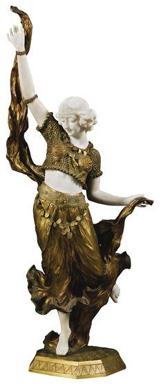 AFFORTUNATO GORI, ACTIVE 1895-1925. ITALIAN. ORIENTAL DANCER - white marble and gilt bronze 93.2cm.