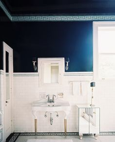 This is a great reverse of the typical color at the bottom with white top and ceiling.  Amazing RICH look with that blue going all the way across the ceiling. -  bathroom | ColorFresh palette { Red + White + Blue } on FamilyFreshCooking.com