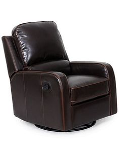 Toby Leather Swivel-Glider Recliner Chair - Furniture - Macy's