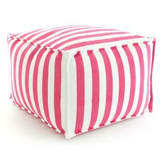 Fresh American | Fresh American Trimaran Stripe Fuchsia/White Indoor/Outdoor Pouf | Our poufs are made of durable polypropylene and filled with polystyrene beads, making them perfect for the porch or patio, kids' rooms, even the boat!