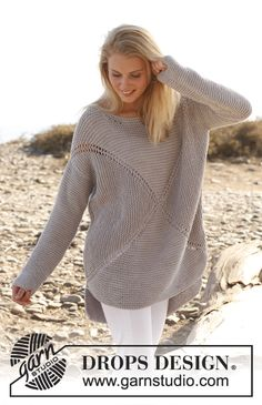 """Knitted DROPS jumper worked in a square in garter st in """"Paris"""". Size: S - XXXL. Free pattern by DROPS Design."""