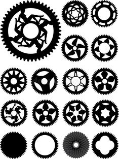 Collection of 17 different bike cogs shapes. - Buy this stock vector and explore similar vectors at Adobe Stock Bike Cog, Bicycle Art, Steampunk Crafts, Steampunk Gears, Biomechanical Tattoo Design, Steampunk Patterns, Gear Tattoo, Svg Shapes, Shapes Images