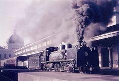 Comboio a carvão num dos cais da estação ferroviária de Lourenço Marques, 1967. -  CFM _ Caminhos de Ferro de Moçambique, Comboio CFM 1967, LM Estação CFLM