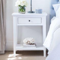 Bedroom Design Classic Bedside Tables Ideas For 2019 Decor, Classic Bedside Tables, Bedroom Seating, Bedroom Design, White Bedside Table, Bedroom Decor, White Bedroom, White Night Table, Bedside Table