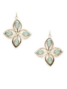 Etched Gold & Stone Flower Earrings by Kendra Scott Jewelry on Gilt