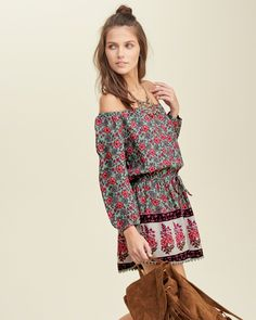Lightweight and supersoft, cute off-the-shoulder neckline, beautiful print, drawstring waist, scalloped hems, Romper Fit