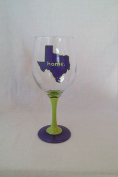 Hey, I found this really awesome Etsy listing at https://www.etsy.com/listing/290938665/texas-home-hand-painted-wine-glass