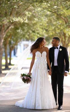 Graphic Lace A-Line Wedding Dress - Martina Liana