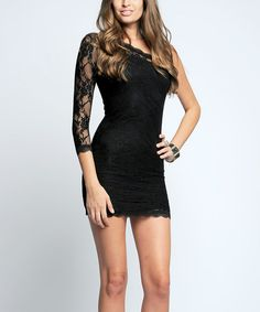 Black Lace Overlay Asymmetrical Dress