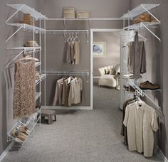 If you don't have much time to create your own walk-in closet design, you can purchase closet organizers that are available as kits from home improvement centers.
