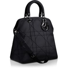 DIOR GRANVILLE Dior Granville黑色皮革手提包 ❤ liked on Polyvore featuring bags