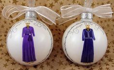 Custom glass ornaments hand painted with illustration of dresses the mother of the bride & mother of the groom will wear to the wedding. Personalized on the back with the bridal couple's names & wedding date.     model gelin