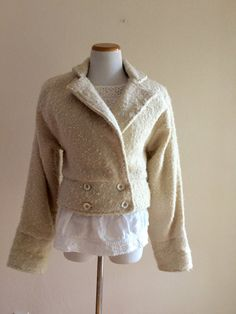 Vintage 80's jacket hand woven pure new wool beige by MindfulGrace
