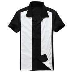 Rockabilly hombre de estilo retro vintage mangas de la ropa de algodón top negro 50 s 60 s camisas del mens hot rod de los años diseño de américa(China (Mainland))