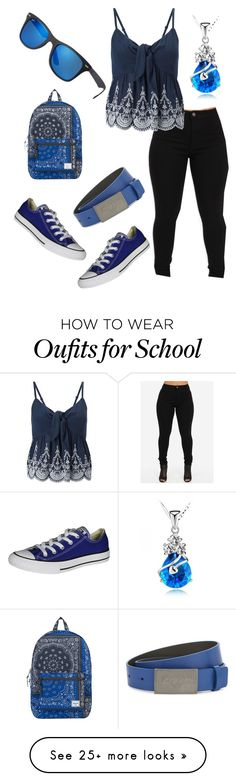 """""""School Blues"""" by stateless4 on Polyvore featuring Miss Selfridge, Converse, Armani Junior, Herschel Supply Co. and Ray-Ban"""