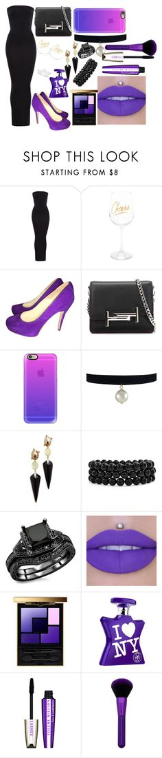 """""""BLACK & PURPLE"""" by tomboy-1-lol ❤ liked on Polyvore featuring Wolford, Brian Atwood, Tod's, Casetify, Alexis Bittar, Bling Jewelry, Yves Saint Laurent, Bond No. 9 and L'Oréal Paris"""