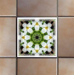 FLOOR tile Anemone mandala Canada anemone green by RVJamesDesigns, $17.95