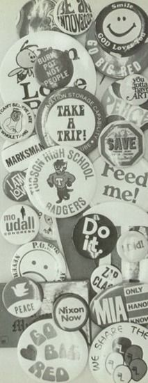 """1974 pins, in the """"Tusconian"""" yearbook of Tucson high school in Tucson, Arizona.  #Tucson #Arizona #Tusconian #yearbook #1974"""