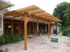 TimberSIL, Here is our new patio trellis – which we like very much. We used Cabot – Australian Timber Oil stain/sealer, color 'honey maple'. Thanks for your help. [galler…